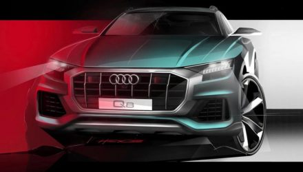 Audi Q8 previewed again, shows aggressive front end (video)