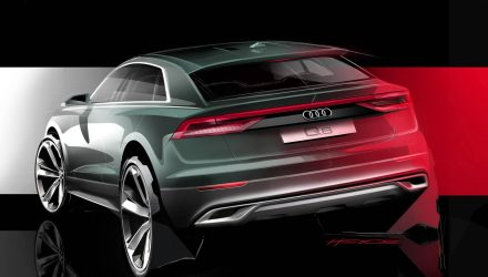 Audi Q8 preview shows sporty rear end, to debut in June