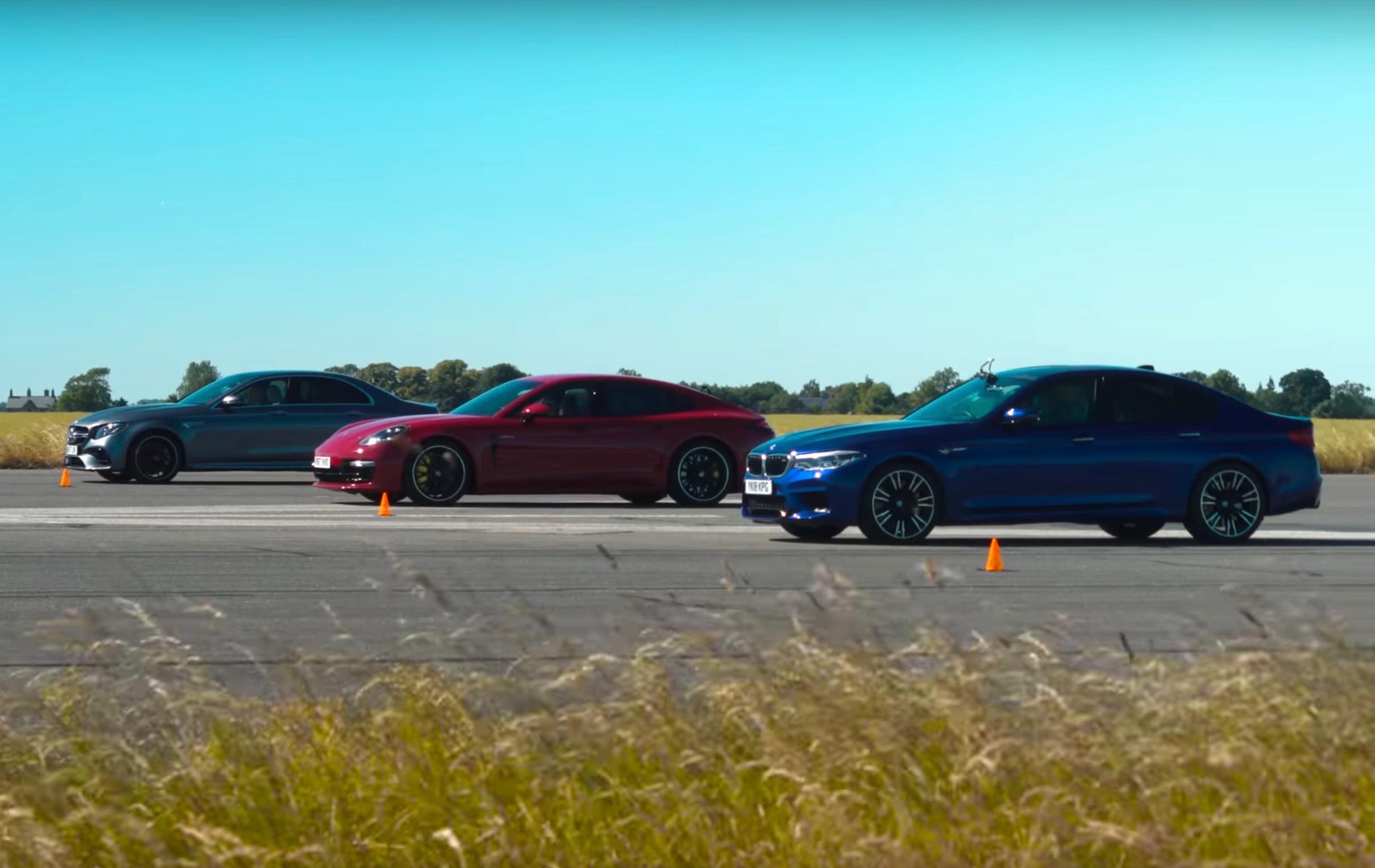 Video: BMW M5 vs Mercedes-AMG E63 vs Porsche Panamera Turbo S E-Hybrid