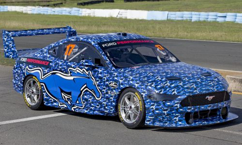 2019 Ford Mustang Supercar hits the track, looks weird