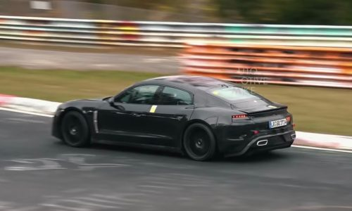 Porsche Taycan spotted at Nurburgring, looks effortlessly fast (video)