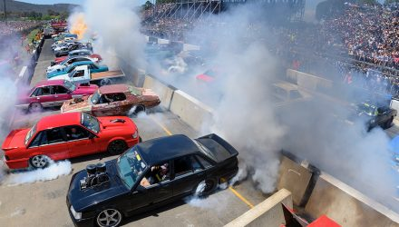 Burnout world record set at Summernats 32, 126 cars smoking
