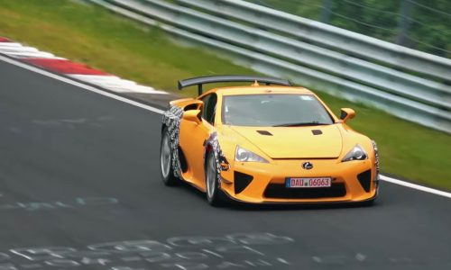 Lexus LC F potentially spotted using V10 LFA as test mule (video)