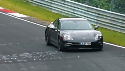 Porsche Taycan spied at Nurburgring, pushing hard (video)