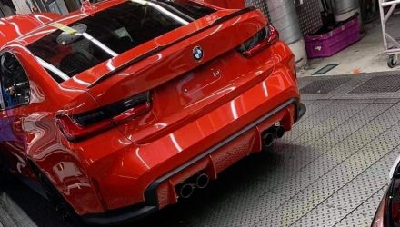 2020 BMW M3 G80 rear end revealed, spied on production line (video)