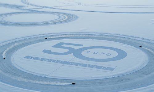 Range Rover does donuts on ice to celebrate 50th anniversary