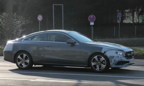 2021 Mercedes-Benz E-Class coupe spotted, new-look face (video)