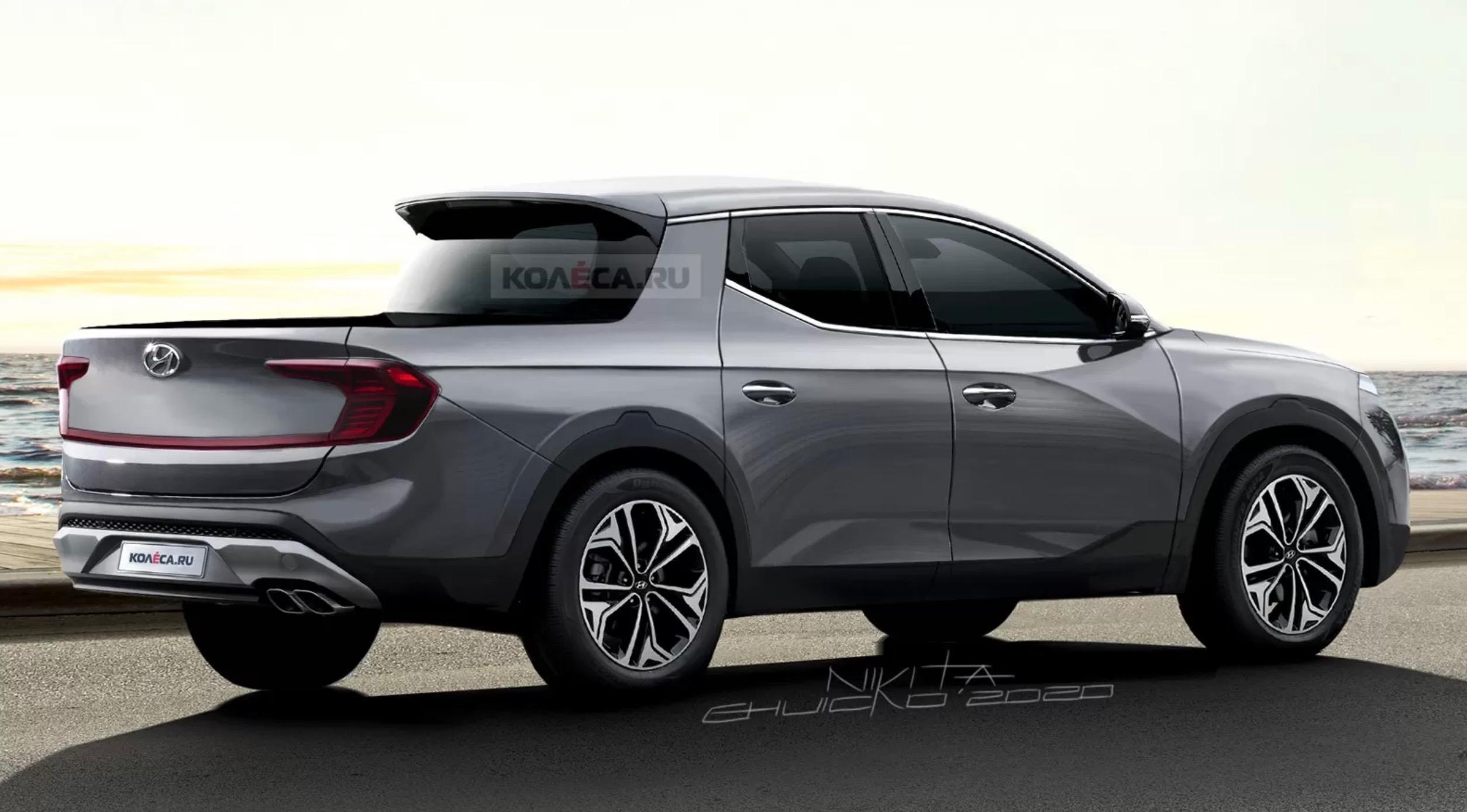 2021 hyundai 'santa cruz' pickup rendered, most accurate