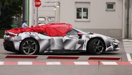 Ferrari SF90 Spider prototype spotted with 'ragtop', literally