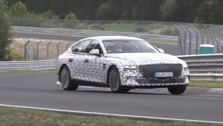 2021 Genesis eG80 electric sedan spotted at Nurburgring (video)
