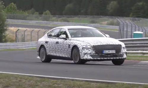 2021 Genesis eG80 electric sedan spotted at Nurburgring (video)
