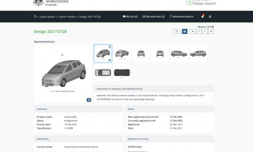2021 Nissan Note patent images registered in Australia