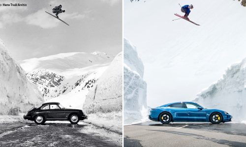Porsche recreates iconic 1960 ski jump photo with Taycan Turbo