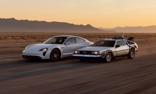 Porsche celebrates 1.21gW charging infrastructure, goes Back to the Future