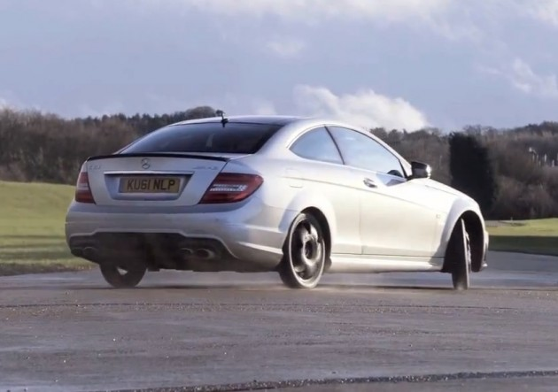 Mercedes benz c 63 amg coupe with space save tyres video for Mercedes benz tyres