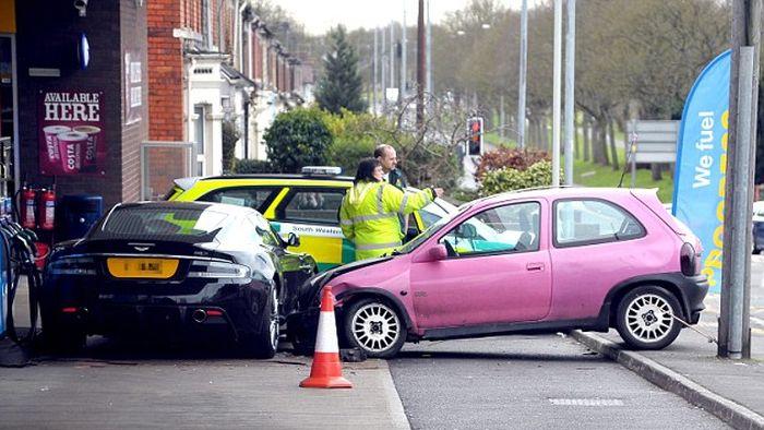 Aston Martin Dbs Crash Involving A Pink Corsa