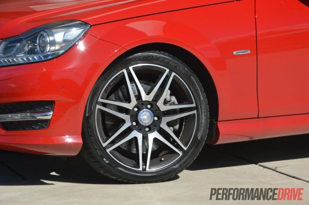2013 Mercedes-Benz C 250 Coupe Sport 18in wheels, cross-drilled brakes