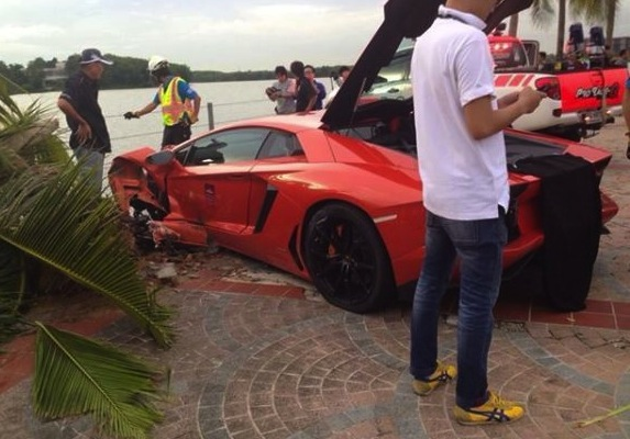 Lamborghini Aventador crash palm tree-