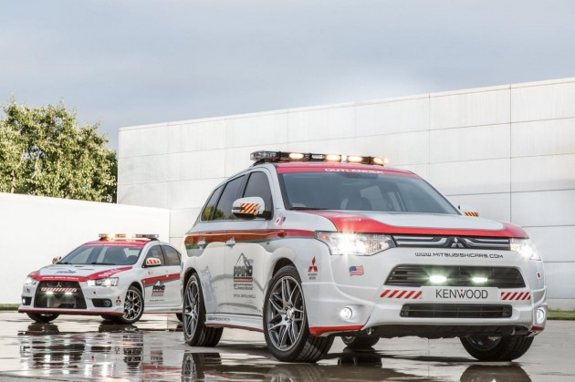 Mitsubishi Outlander and Evolution X Pikes Peak safety car