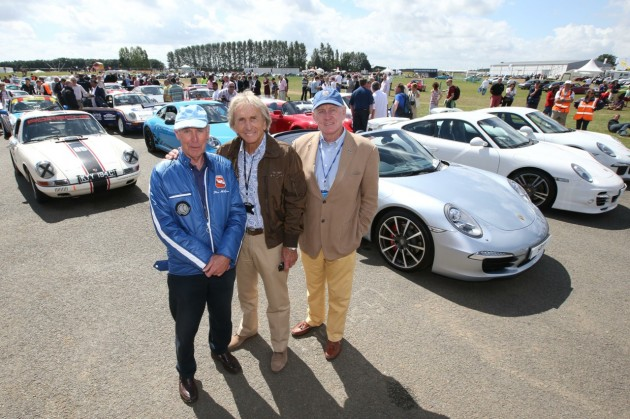 2013 Porsche 911 record parade Silverstone-Richard Attwood, Derek Bell and John Fitzpatrick