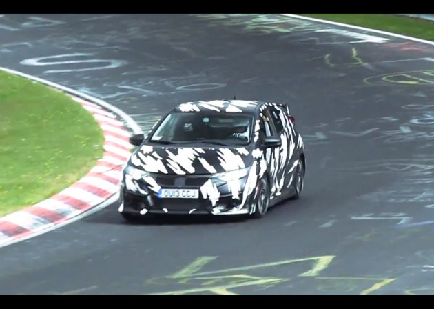 video 2015 honda civic type r spotted on the nurburgring. Black Bedroom Furniture Sets. Home Design Ideas
