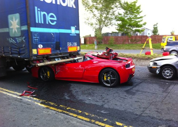red ferrari crash. ferrari 458 crash-ireland red crash
