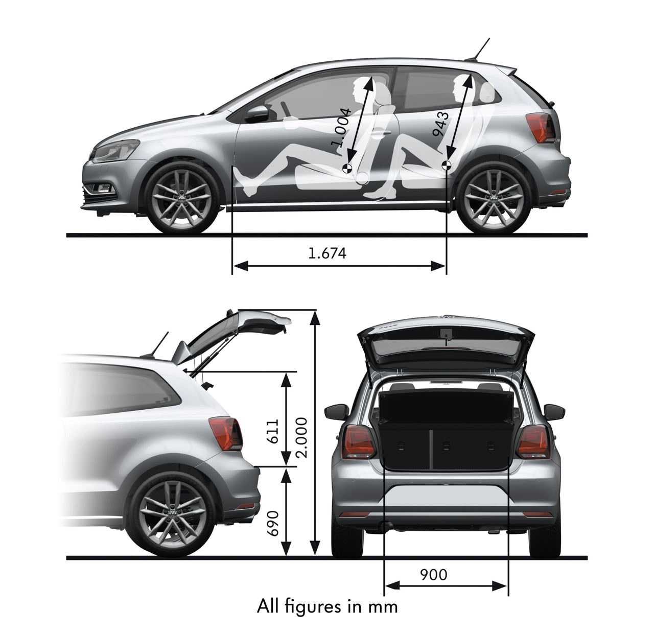 2014 volkswagen polo cargo dimensions. Black Bedroom Furniture Sets. Home Design Ideas