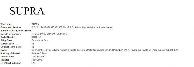 Toyota Supra trademark