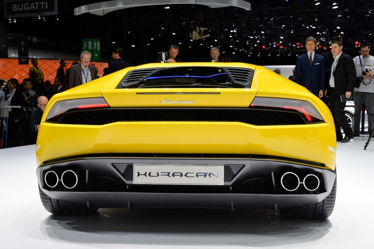 2014 geneva motor show lamborghini huracan yellow rear. Black Bedroom Furniture Sets. Home Design Ideas