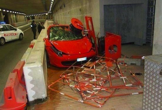 Ferrari 458 crash Monte Carlo tunnel
