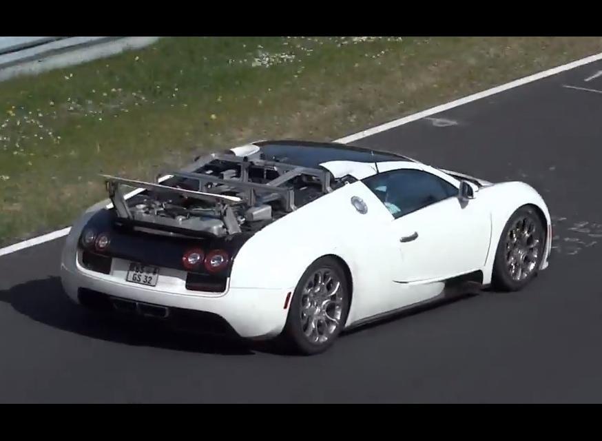 video new bugatti veyron prototype spotted hybrid. Black Bedroom Furniture Sets. Home Design Ideas