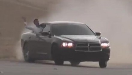 Dodge Charger sedan Middle East freeway drifting