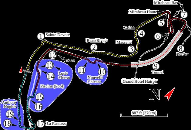 Monte Carlo Formula One track map