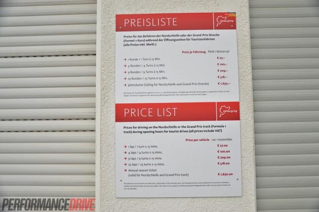 2014 Nurburgring Nordschleife-price list