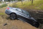 BMW M4 crashed in a ditch is a sorry sight