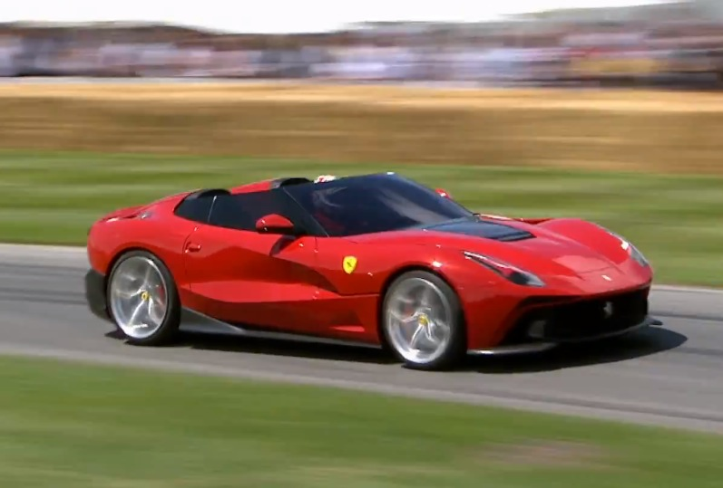 Ferrari F12 TRS making its spectacular run at Goodwood