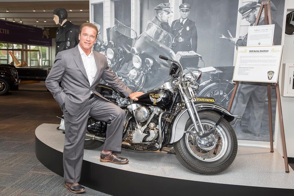 arnold schwarzenegger visits ohio state highway patrol museum
