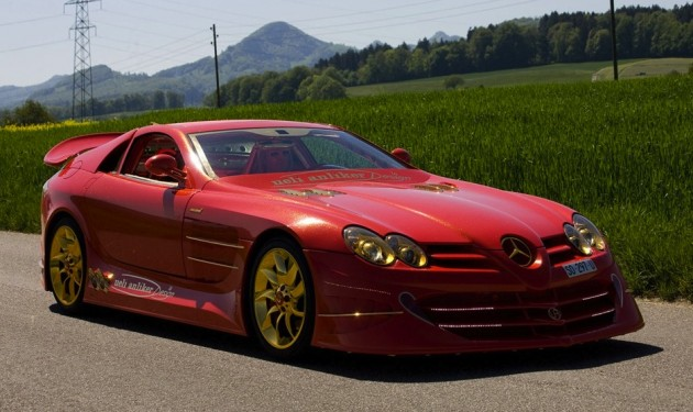 Gold and red Mercedes SLR McLaren