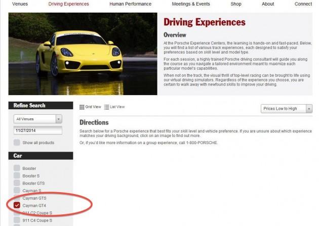 Porsche Cayman GT4-company website