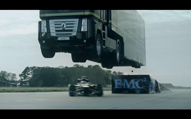 Lotus Renault F1 truck jump
