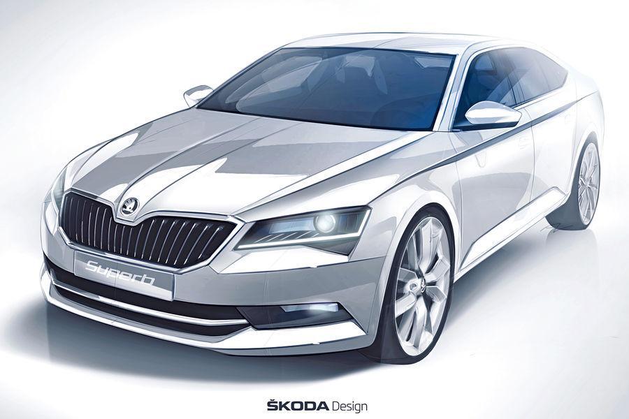 official 2015 skoda superb sketch reveals new look design performancedrive. Black Bedroom Furniture Sets. Home Design Ideas