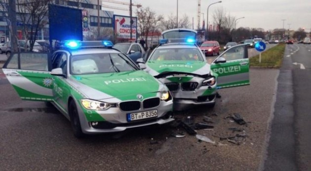 BMW police car crash in Bamberg