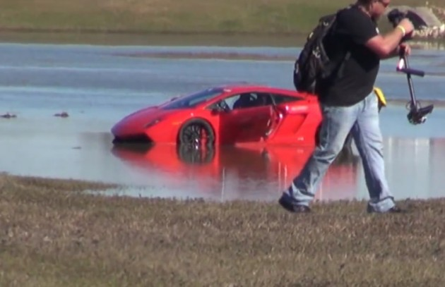 2000hp Lamborghini Gallardo lake crash