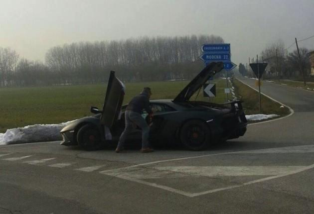 Lamborghini Aventador SV prototype broken down