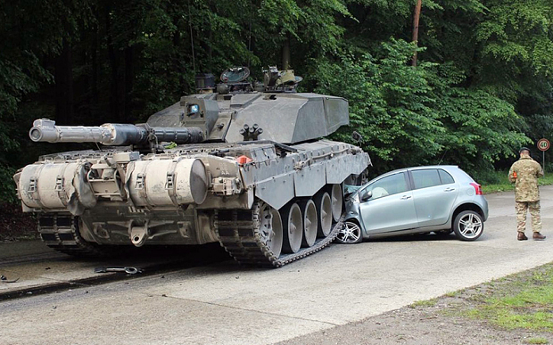 Tank crushes learner car