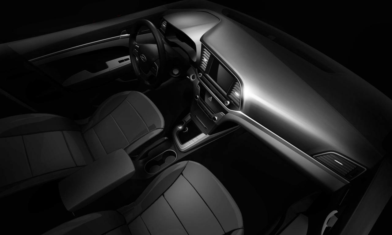 hyundai previews 2016 elantra interior performancedrive. Black Bedroom Furniture Sets. Home Design Ideas