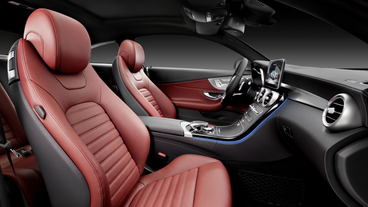 2016 mercedes benz c class coupe revealed lighter larger for Mercedes benz c300 red interior