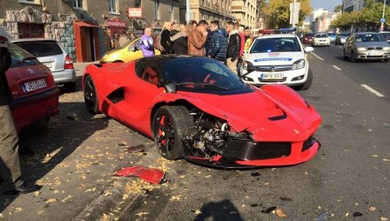 LaFerrari crash in Hungary, hits 3 parked cars