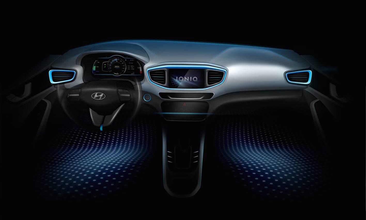ioniq hyundai 39 s new hybrid ev previewed again interior shown performancedrive. Black Bedroom Furniture Sets. Home Design Ideas