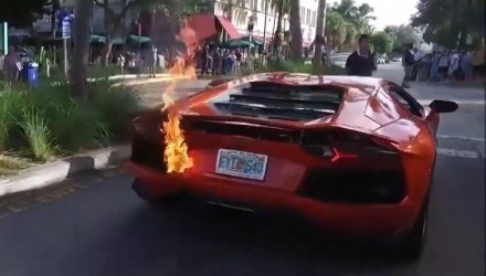 Video: Lamborghini Aventador catches fire during valet park